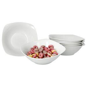6er Set Müslischale Lilli 450ml 150x150mm Salat Dessert edles Markenporzellan Geschirrset weiß