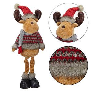 Winterliche Elch Figur ca. H80 cm, groß, stehend, in rot/grau Weihnachtsdeko Rentier Figur