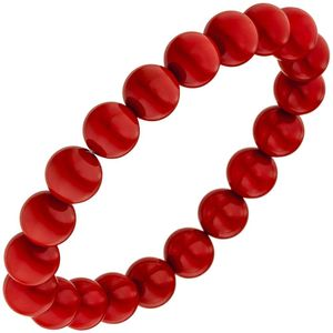 Armband Muschelkern Perlen rot 19 cm Perlenarmband elastisch