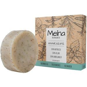 Meina - Haarseife Naturkosmetik - Bio Shampoo Bar mit Brennnessel, Pfefferminze und Rosmarin (1 x 80 g) palmölfrei, vegan festes Shampoo, Shampooseife für Männer und Frauen