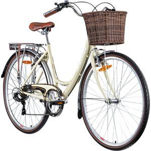 Galano Piccadilly 28 Zoll Damenfahrrad 7 Gang Citybike Stadt Fahrrad Damenrad Hollandrad, Farbe:elfenbein, Rahmengröße:41 cm