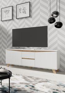 byLIVING TV-Board Valentin, Lowboard Breite 160 cm, Fernsehschrank matt weiß, Applikation in Eichen-Optik