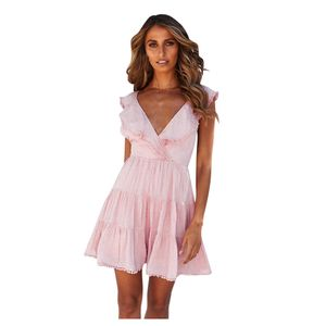 Frauen y V-Ausschnitt Kurzarm Quaste Minikleid Abend Party Kleid Größe:M,Farbe:Rosa