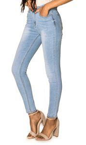 Damen Denim Jeans Hose Stretch Slim Fit Skinny Röhrenjeans Pants , Farben:Hellblau, Größe:42