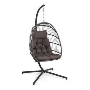 Blumfeldt Biarritz Individuelle Hängesessel  ,  Einsitzer  ,  entspannende Schwingbewegung  , Outdoor & Indoor  ,  weiches Sitzkissen aus Polyester  ,  Sitzkugel aus Polyrattan und Nylon  ,  stabiler Standfuß aus Aluminium  ,  max. Belastbarkeit: 130 kg  ,  faltbar  ,  dunkelgrau