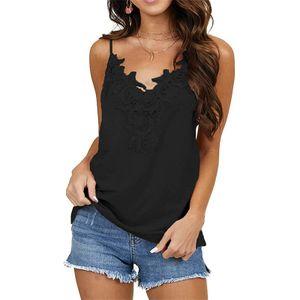 Ärmelloses Ärmelloses Hemd Mit Einfarbiger Spitzenweste Für Damen,Farbe: Schwarz,Größe:XXL