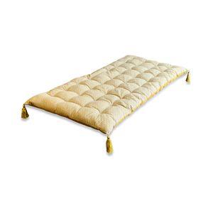 Bodenmatratze, 120x60cm, Senffarben, wendbar, Baumwolle, mit Quasten, boho, weich, entspannend, sonniges Motiv und Uni