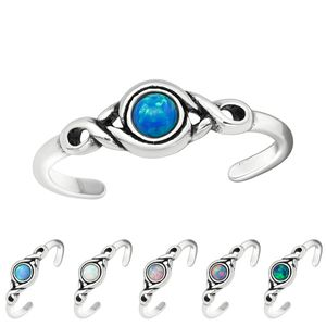 Zehenring Silber 925: Zehring mit Opal, Farbe:Peacock