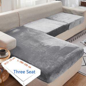 3 Sitzer Sofabezug Velvet Plüsch Elastische Sofahusse Stretchhussen Abdeckung,Grau