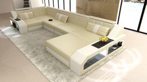 Wohnlandschaft Arezzo Leder, Farben:beige-weiß, Material:Echtleder Premium, Sofa Ausrichtung Ottomane:Rechts - vor dem Sofa stehend, Bettfunktion:ohne Bettfunktion