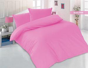 Bettwäsche 200x200 + 2 x 80x80 cm 100% Baumwolle Renforcé Uni 3 teilig Bettgarnitur Bettbezug Set mit Reißverschluss Altrosa