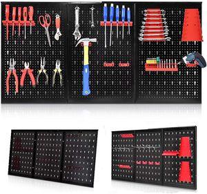 Werkzeugwand Lochwand aus Eisen, Werkzeuglochwand Lochblech Lochwand mit Hakenset, Werkzeughalter Werkzeughalterung Wandpalatten Lagersystem