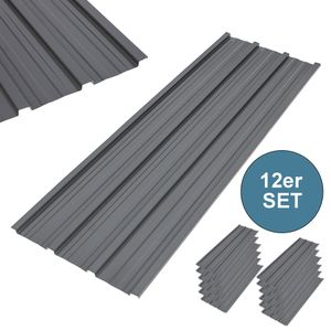 12 x Profilblech Trapezblech 120cm x 51.6cm = 7.4 m² -Dachblech für Gerätehaus Grau Metall Dachblech Dach Platten Stahlblech