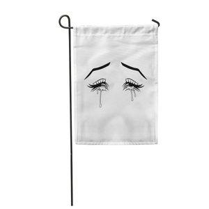 PKQWTM Anime Crying Eyes Manga Schöne große schwarze Gartenflagge dekorative Flagge Haus Banner 30x45 cm