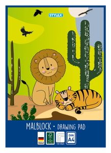 "Malblock XL / 100 Blatt / DIN A4 / Zeichenblock / ""Löwe + Tiger"""
