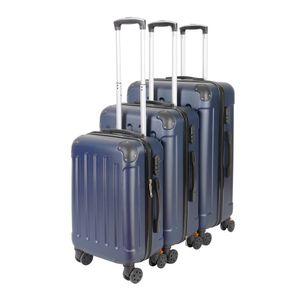 3er VOSSBACH Kofferset Trolley Koffer Set Hartschalenkoffer Navy Reisekoffer Gepäck Hartschalen Rollkoffer Dunkelblau