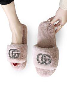 Frauen Buchstabenmuster Plüsch Hausschuhe Rutschen Flache Schuhe Mit Riemen,Farbe: Pink,Größe:38/39