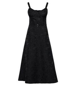 POSTYR Abend-Kleid reizendes Damen Cocktail-Kleid mit geblümtem Krepp-Muster Schwarz, Größe:38