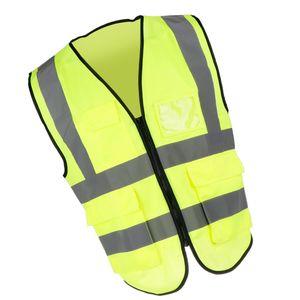 Einstellbare Sicherheitsweste Jacke mit Reflexstrifen auf der Vorder- und Rückseite für maximale Sichtbarkeit Größe XL fluoreszierendes Gelb