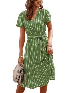 Damen Sommer Kurzarm gestreiftes Kleid Schnürkleid,Farbe: Grün,Größe:XL