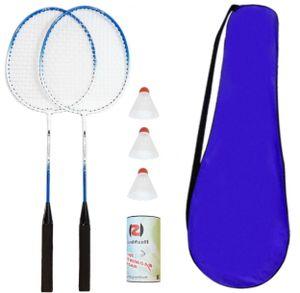 Badminton Set Federballspiel Federball mit 2 Schlägern 3 Federbällen und Schlägertasche