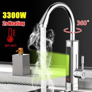 3300W 220V LED Elektrisch Durchlauferhitzer Wasserhahn Sofort Warm Küche Armatur