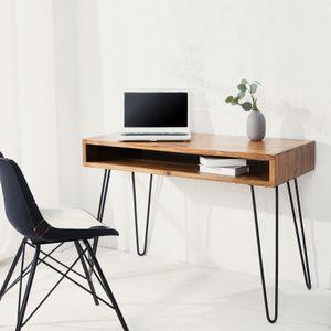cagü: Design Schreibtisch [MUMBAI] Sheesham lackiert mit Ablagefach und Schwarzen gebogenen Beinen aus Metall 110cm x 50cm