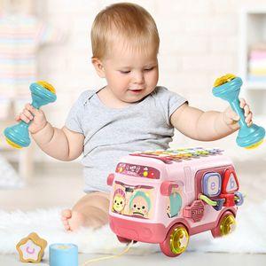 Musik Bus Spielzeug mit Xylophon und Bausteine Montessori Lernspielzeug für Kleinkinder Baby(Rosa)