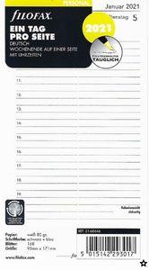 Filofax Kalendereinlage Personal 95 x 171 mm: Eine Tag pro Seite 2021 deutsch mit Uhrzeiten
