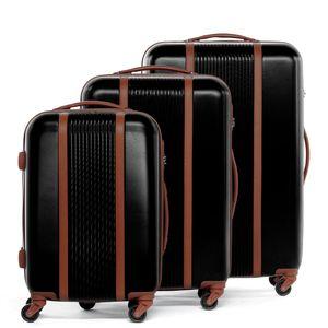 FERGÉ 3er Kofferset MILANO ABS Dure-Flex schwarz 3er Hartschalenkoffer Roll-Koffer 4 Rollen Kofferset Hartschale 3-teilig