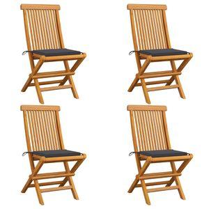 vidaXL Gartenstühle mit Anthrazit Kissen 4 Stk. Massivholz Teak