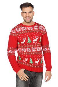 WIL - Weihnachtspullover rot Rentier Weihnachten Party Gr.L