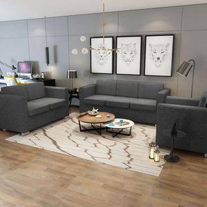 Eleganter 3+2+1 Sitzer Sofa Set, 3-teiliges Sofagarnitur ,Couchgarnitur Für Wohnzimmer Stoff Dunkelgrau ❀7537