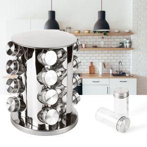 Gewürzregal für Küchenschrank und Arbeitsfläche  Küchen-Organizer mit 16 Gewürzgläser - Edelstahl Gewürzkarusell Set