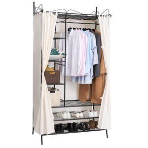 SONGMICS Metall Kleiderschrank Beige mit Vorhang 210 x 108 x 58 cm Faltschrank Garderobenschrank  RTG04H