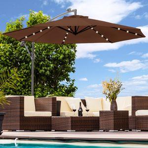 Luxus Sonnenschirm mit LED Beleuchtung Ampelschirm 300 cm Garten Schirm Pavillon - braun