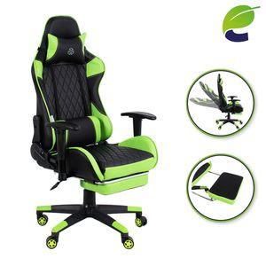ecoMI - Gaming Stuhl mit Fußstütze Bürostuhl Racing Drehstuhl Computerstuhl Schreibtischstuhl Verstellbar 150 kg Grün