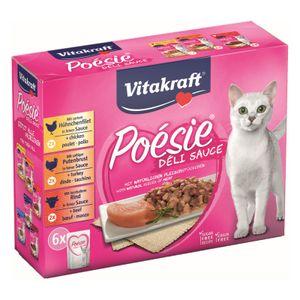 Vitakraft Katzenfutter Poesie DeliSauce, Multipack Fleisch - 6 Beutel