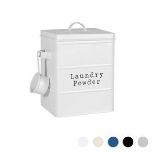 Harbour Housewares Vintage Metall Waschpulver-Speicher-Zinn - Utility Storage Kanister - 18cm - Matt White
