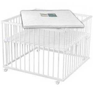 Sämann® Laufgitter 100x100 cm Buche weiß mit Matratze, stufenlos höhenverstellbar, Baby Laufstall