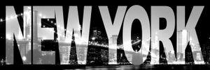 New York Poster Leinwandbild Auf Keilrahmen - New York, Skyline Bei Nacht (30 x 90 cm)