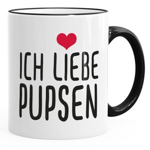 Spruch-Tasse Ich liebe Pupsen Kaffeetasse Teetasse MoonWorks® schwarz unisize