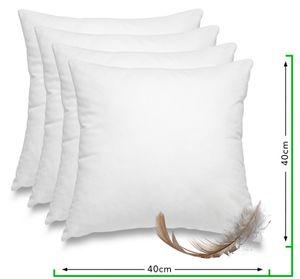 WOMETO 4er Set Federkissen 100% Federn 40x40 cm -  Kissen Füllkissen Bezug Baumwolle weiß I Innenkissen /  Kissenfüllung / kleine Kopfkissen (4 Stück)