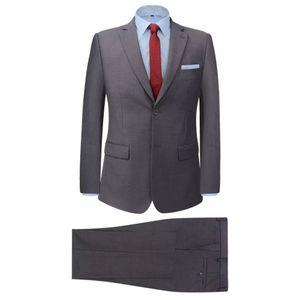 Huicheng 2-tlg. Business Anzug für Herren Grau Größe 46