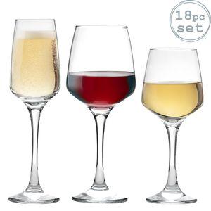 Rot-, Weiß- und Champagner-Gläser - 18-teiliges Set