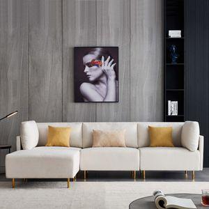Tiema Moderne Ecksofas L-Form 3-Siter Stoffsofa mit Hocker Beige Leinen Stoffbezug Holzbeinen freistehend Ottomane Breite 276cm