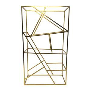 LaLe Living Weinregal Vino aus gebürstetem Eisen in Gold 9 Weinflaschen mit dem Maß 26x45,5 cm - zur Aufbewahrung, Lagerung von Wein und Wasserflaschen- im geometrisches Design