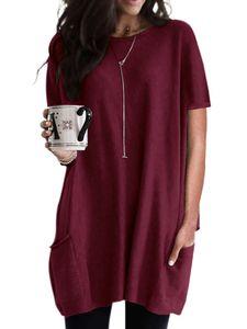 Lässige lockere kurzärmlige T-Shirt-Blusentasche für Damen,Farbe: Rot wine,Größe:XXL