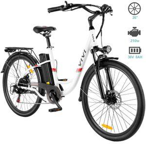 VIVI E-Bikes Fahrräder 26 Zoll E-Trekkingrad Elektrofahrrad Elektro-Mountainbike City E-Bike mit LED Fahrradlicht, 250W Motor, 7-Gang-Getriebe, 36V 8AH Abnehmbarer Lithium Akku, für Herren Damen Unisex,Weiß