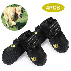 Hundeschuhe Stiefel Wasserdichte Schuhe fuer Hunde mit reflektierendem Riemen Robuster rutschfester Sohle Pet Paw Protectors 4 PCS